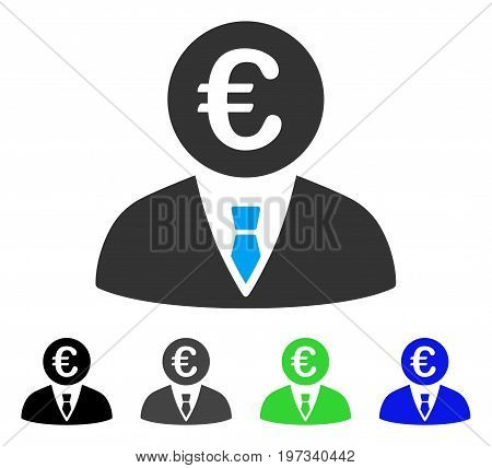 Euro Clerk flat vector icon. Colored euro clerk gray, black, blue, green pictogram versions. Flat icon style for web design.