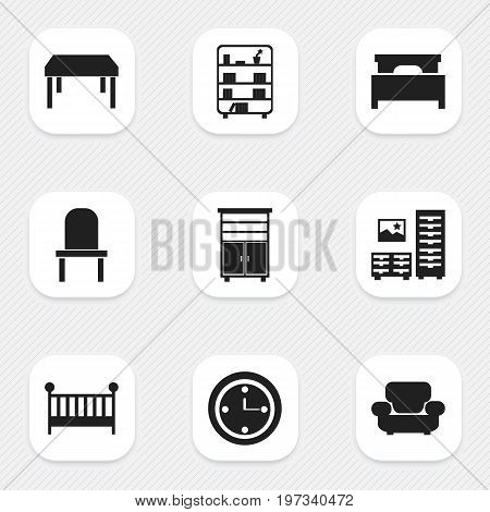 Set Of 9 Editable Furniture Icons. Includes Symbols Such As Lectern, Bookshelf, Cabinet And More