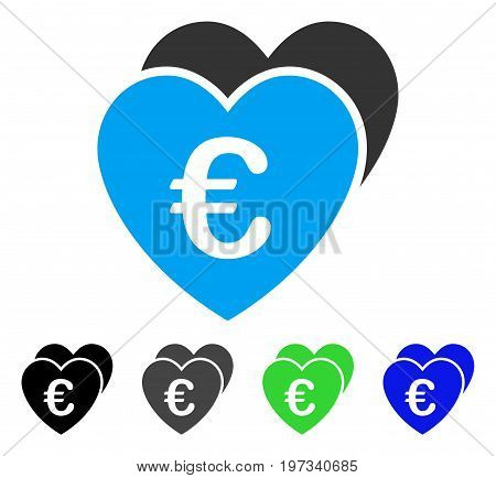 Euro Favorites Hearts flat vector icon. Colored euro favorites hearts gray, black, blue, green icon versions. Flat icon style for web design.