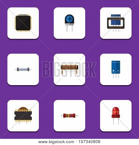 Flat Icon Appliance Set Of Transducer, Transistor, Resistor And Other Vector Objects