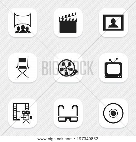 Set Of 9 Editable Filming Icons. Includes Symbols Such As Show, Tape, Tv And More
