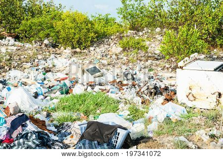Turks and Caicos Islands, July 10, 2012; Environmental hazard litter and rubbish carelessly dropped without concern for affects