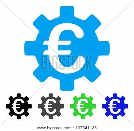 Euro Machinery Gear flat vector illustration. Colored euro machinery gear gray, black, blue, green icon versions. Flat icon style for graphic design.