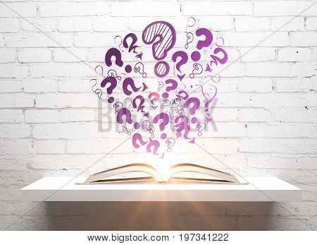 Glowing open book with abstract drawn question marks placed on white shelf on white brick wall background. Knowledge concept. 3D Rendering