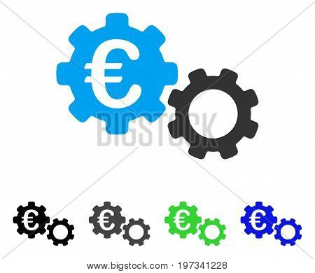 Euro Mechanics flat vector icon. Colored euro mechanics gray, black, blue, green pictogram versions. Flat icon style for graphic design.