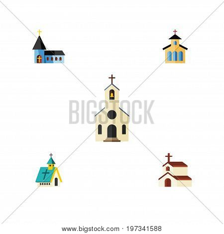 Flat Icon Building Set Of Catholic, Religion, Architecture And Other Vector Objects