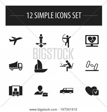Set Of 12 Editable Complicated Icons. Includes Symbols Such As Programmer, Heart Rhythm, Soul And More