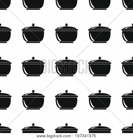 Pan seamless pattern vector illustration background. Black silhouette pans stylish texture. Repeating pan seamless pattern background for kitchen design and web