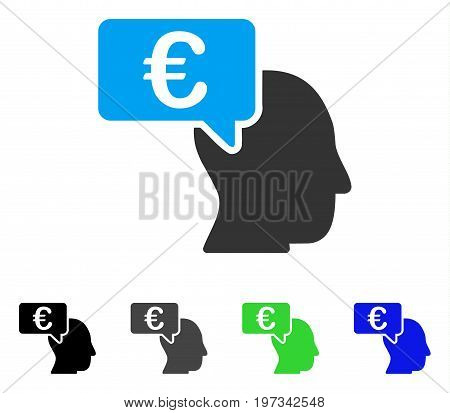 Euro Businessman Idea flat vector icon. Colored euro businessman idea gray, black, blue, green pictogram versions. Flat icon style for application design.