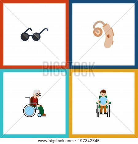 Flat Icon Handicapped Set Of Audiology, Wheelchair, Spectacles And Other Vector Objects