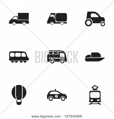 Set Of 9 Editable Transport Icons. Includes Symbols Such As Tramcar, Yacht, Motorbus And More
