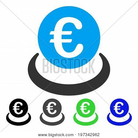 Euro Deposit flat vector illustration. Colored euro deposit gray, black, blue, green pictogram versions. Flat icon style for graphic design.