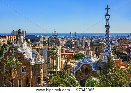 BARCELONA, SPAIN - MAY 3, 2017: Gaudi architecture in park Guell.