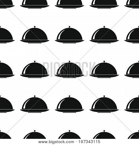 Dishes seamless pattern vector illustration background. Black silhouette dish stylish texture. Repeating dish seamless pattern background for kitchen design and web
