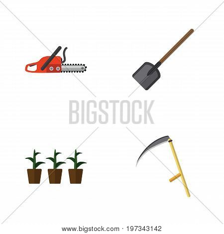 Flat Icon Farm Set Of Shovel, Flowerpot, Hacksaw And Other Vector Objects