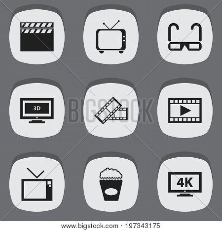 Set Of 9 Editable Cinema Icons. Includes Symbols Such As Movie Reel, Cinema Snack, Film Spectacles And More