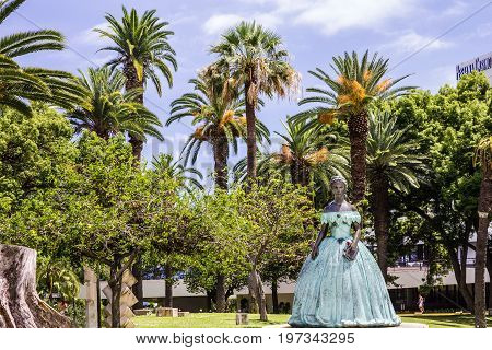 Funcha,l Madeira - May7, 2017: The monument Sisi (Empress Elizabeth Bavarian), Portugal