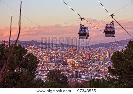 Barcelona city view, Spain. Cable car Teleferic de Montjuic poster