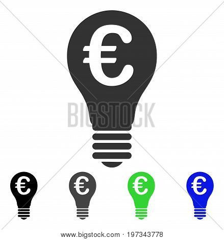 Euro Patent flat vector pictogram. Colored euro patent gray, black, blue, green icon variants. Flat icon style for graphic design.