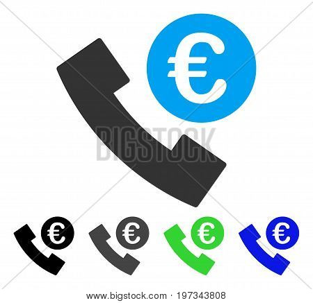 Euro Phone Order flat vector illustration. Colored euro phone order gray, black, blue, green pictogram variants. Flat icon style for application design.