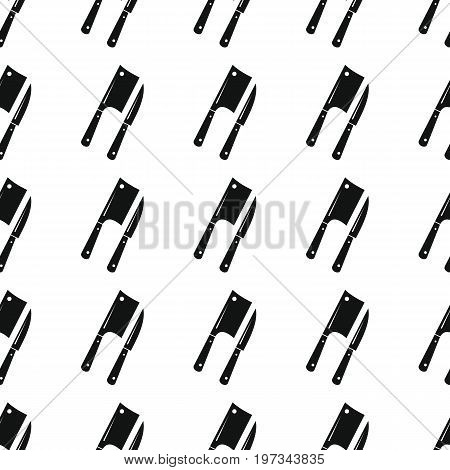 Knife and axe seamless pattern vector illustration background. Black silhouette knife and axe stylish texture. Repeating knife and axe seamless pattern background for kitchen design and web