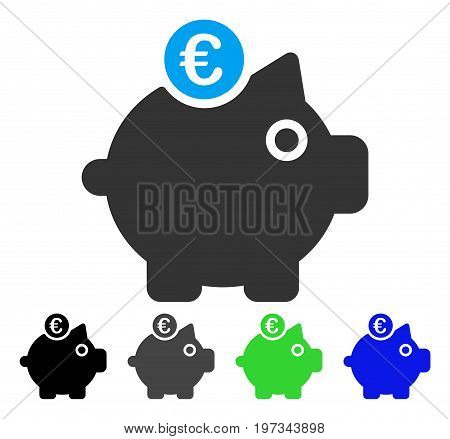 Euro Piggy Bank flat vector pictograph. Colored euro piggy bank gray, black, blue, green icon versions. Flat icon style for graphic design.