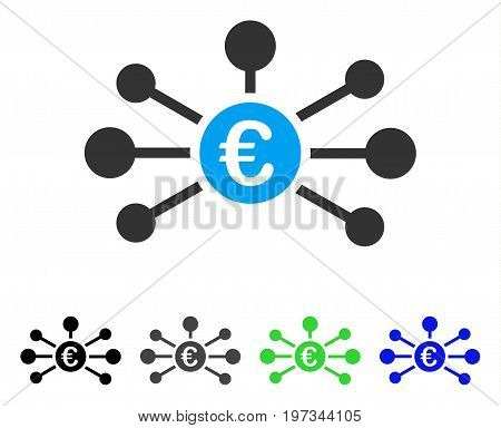 Euro Relations flat vector icon. Colored euro relations gray, black, blue, green pictogram versions. Flat icon style for web design.