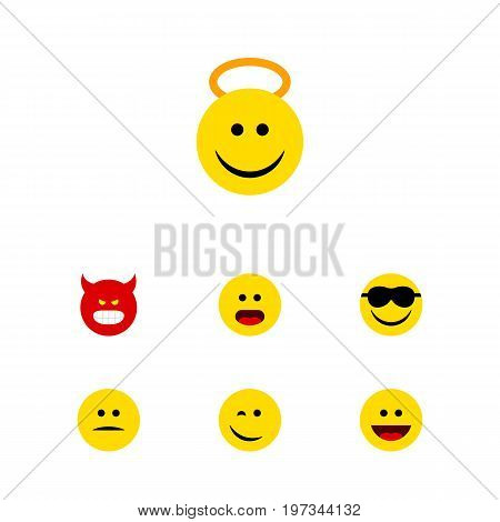 Flat Icon Face Set Of Angel, Happy, Laugh And Other Vector Objects