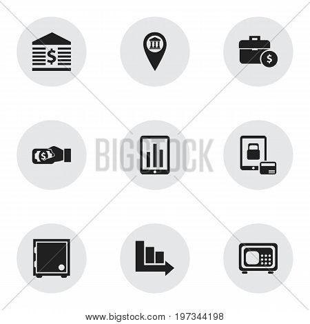 Set Of 9 Editable Finance Icons. Includes Symbols Such As Handbag, Pay, Pinpoint
