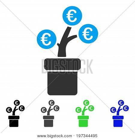 Euro Tree Pot flat vector illustration. Colored euro tree pot gray, black, blue, green pictogram variants. Flat icon style for web design.