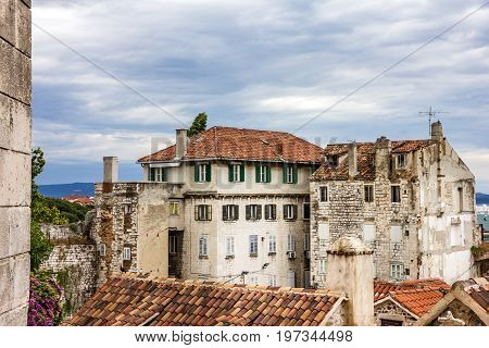 Split houses. Croatia ancient architecture of old town