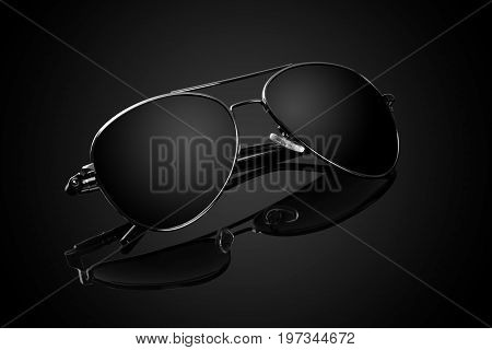 Fashion Aviator Sunglass with reflection on Black Background