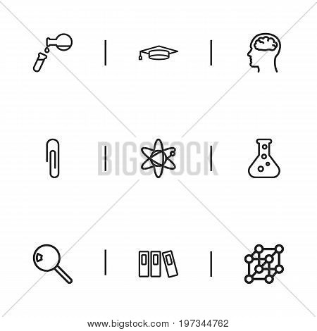 Set Of 9 Editable Science Outline Icons. Includes Symbols Such As Test Tube, Folder, Magnifier And More