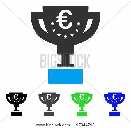 Euro Award Cup flat vector illustration. Colored euro award cup gray, black, blue, green icon variants. Flat icon style for web design.