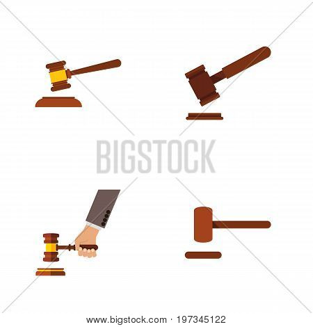Flat Icon Lawyer Set Of Hammer, Defense, Justice And Other Vector Objects