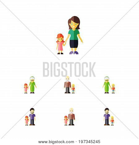 Flat Icon People Set Of Daugther, Father, Grandpa Vector Objects