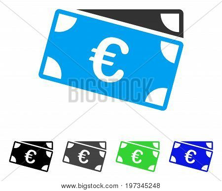 Euro Banknotes flat vector icon. Colored euro banknotes gray, black, blue, green icon versions. Flat icon style for web design.