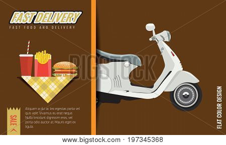 Fast food Fast and free delivery Poster or menu template design. Vector illustration.