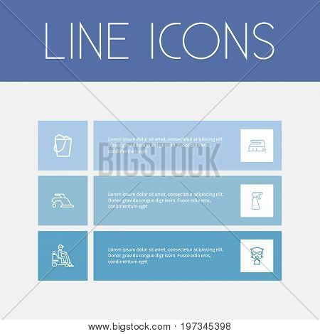 Set Of 6 Editable Cleaning Outline Icons. Includes Symbols Such As Bucketful, Respirator, Tap And More
