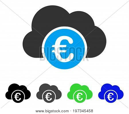 Euro Cloud Banking flat vector pictograph. Colored euro cloud banking gray, black, blue, green icon variants. Flat icon style for graphic design.