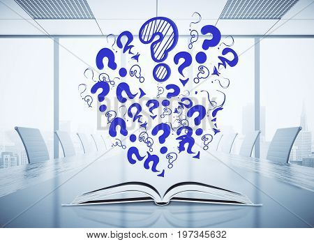 Open book with abstract drawn question marks placed on white conference table. Information concept. 3D Rendering