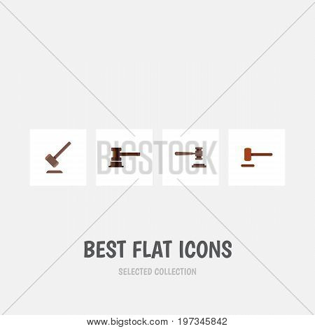Flat Icon Hammer Set Of Defense, Legal, Tribunal And Other Vector Objects
