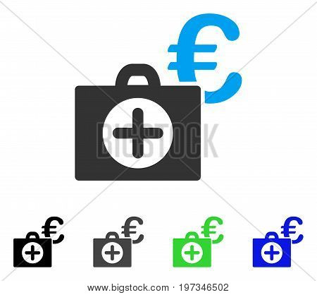 Euro Medical Payment flat vector pictogram. Colored euro medical payment gray, black, blue, green pictogram versions. Flat icon style for graphic design.