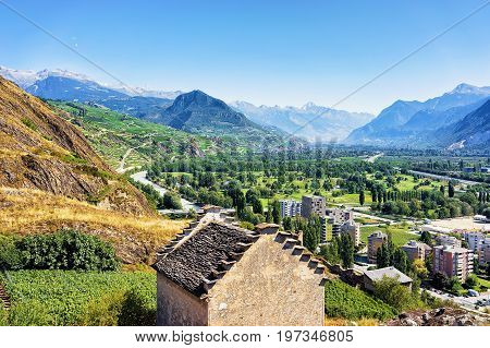 Sion Cityscape In Rhone Valley Bernese Alps Capital Valais Swiss