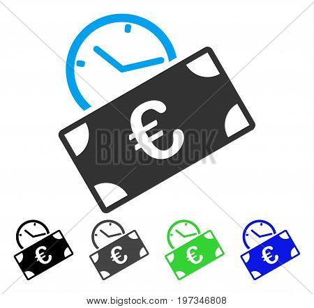 Euro Recurring Payment flat vector icon. Colored euro recurring payment gray, black, blue, green icon variants. Flat icon style for web design.