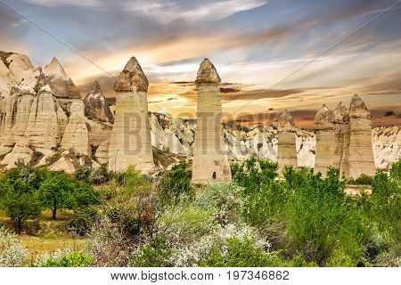 Goreme, Turkey. Column mountain rock landscape, Cappadocia