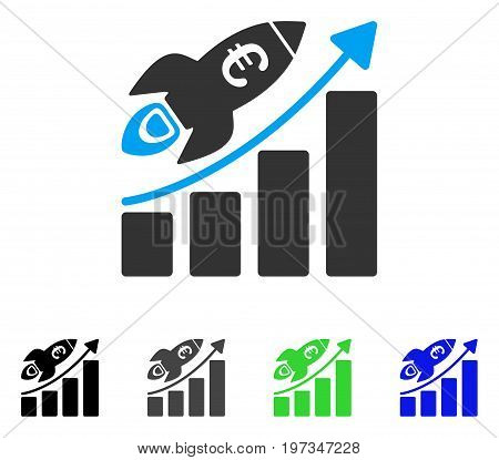 Euro Success Business Start flat vector illustration. Colored euro success business start gray, black, blue, green icon versions. Flat icon style for web design.