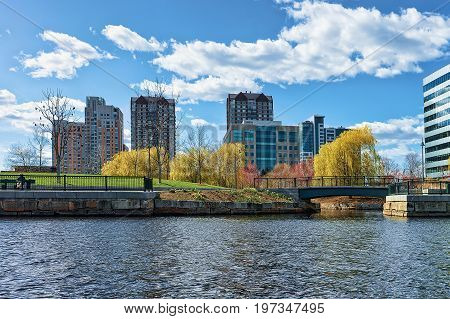 Modern Buildings In North Point Park Charles River Cambridge America