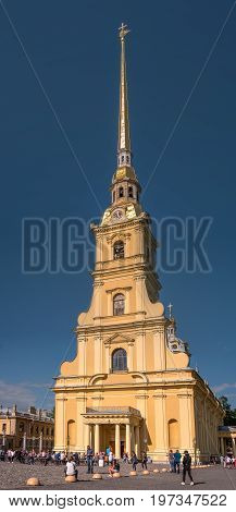 Saint Petersburg, Russia - June 17, 2017: The Cathedral of Peter and Paul in the Peter and Paul fortress. It is the tallest architectural structure in St. Petersburg. Tourists visiting the attraction.
