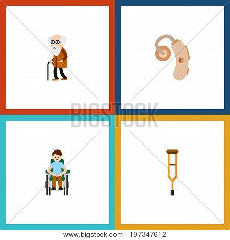 Flat Icon Cripple Set Of Stand, Disabled Person, Ancestor Vector Objects